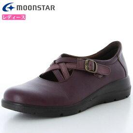 ムーンスター シューズ レディース スポルス SP5130 パープルC 42324252 MS コンフォートシューズ ワイド設計 クロスベルトタイプ 履くほどに足に柔らかくフィット 日本製