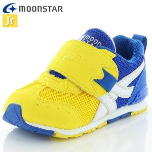 ムーンスター ベビー シューズ キャロット MS B150 イエロー/ブルー 12115923 MOONSTAR ジョギングシューズ 2E つま先ゆったり 運動靴 洗えるインソール 子供靴