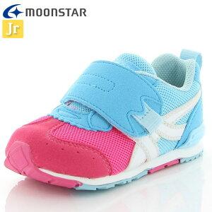 ムーンスター 子供靴 ベビー キャロット MS B150 ピンク/サックス 12115924 MOONSTAR ベビーシューズ ジョギングシューズ つま先ゆったり 洗えるインソール