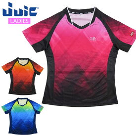 ネコポス ジュウイック スポーツウエア レディース 卓球 Vチェック 半袖シャツ JUIC 5556 吸収速乾 軽量 チェック柄 トレーニングウエア ユニフォーム