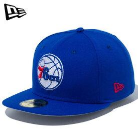 ニューエラ カジュアル キャップ 59FIFTY フィラデルフィア・セブンティシクサーズ ブルー × チームカラー NEW ERA 12492039 帽子 ユニセックス フラットバイザー フロント芯あり プロバスケットボールリーグ