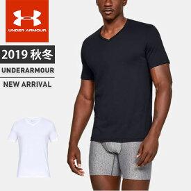 ☆アンダーアーマー メンズ インナー Tシャツ 半袖 下着 UA チャージドコットン Vネック アンダーウェア フィッティド 2枚セット 吸汗速乾 1327429 あす楽