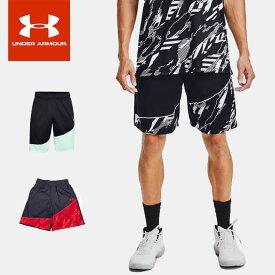 ☆ネコポス アンダーアーマー メンズ ショートパンツ バスケットボール UA ベースライン 25cm ショーツ ルーズ 速乾 ポケット ニット トレーニング 1343004 あす楽