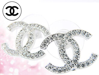 Chanel CHANEL ★ accessories (earrings) A42175 clear × silver クリアラインス stone CC earrings cheap % Women's sale