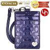 Coach COACH ★ accessory (card holders) F62406 Navy embossed signature liquid gloss heart lanyard ID case outlet products cheap! Women's brand sale store SALE 2014 YR limited price