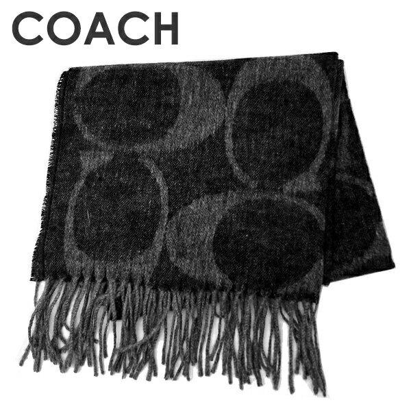 コーチ COACH マフラー 送料無料 シグネチャーCマフラー77673 BK/GY(ブラック×グレー)