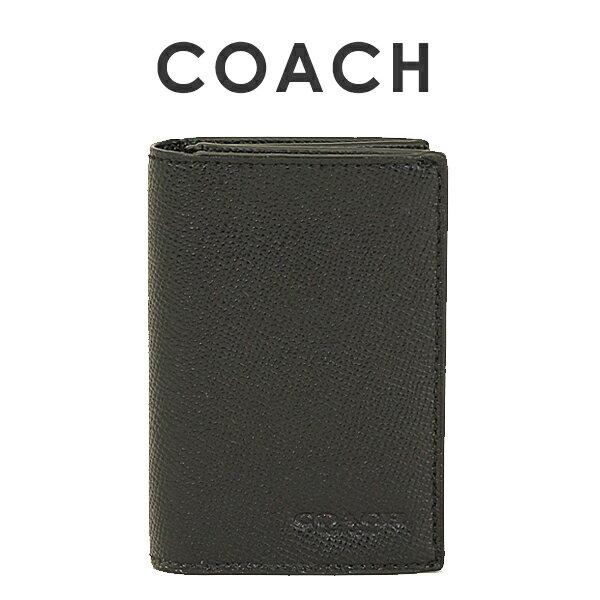 コーチ COACH メンズ 送料無料 クロスグレインレザー バイフォールド カードケース 名刺入れ F86763 BLK(ブラック)