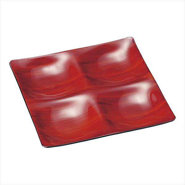 若泉漆器 Mー21ー48 カリブプレート 赤茶刷毛目 6-2201-1101 RKL7601