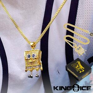 KING ICE キングアイス ネックレス チェーン ペンダント SPONGEBOB SQUAREPANTS NECKLACE 14kゴールド 金 Mサイズ コラボ メンズ スポンジボブ 人気 ストリート[アクセサリー]