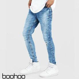 ブーフー boohoo Skinny Fit Jean With Abrasion WASHED BLUE ウォッシュドブルー デニム スキニー ジーンズ パンツ メンズ イギリス asos[衣類]