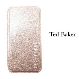 Ted Baker テッドベイカー ミラー付 手帳型 iPhone 5/5s SE 6/6s 7 8 11 12 Pro Plus X/XS XR XSMax Case アイフォン ケース 携帯 スマホ ケース 二つ折 グリッター ローズゴールド[スマホケース]