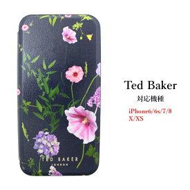テッドベイカー Ted Baker ミラー付 手帳型 iPhone 6/6s 7 8 11 Pro /X /XS Case アイフォン ケース 二つ折 HEDGEROW ヘッドグロウ [スマホケース]