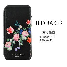 テッドベイカー Ted Baker ミラー付 手帳型 iPhone XR 11 アイフォン ケース 二つ折 花柄 SANDALWOOD プリント ブラック シルバー[スマホケース]