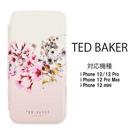 テッドベイカー Ted Baker ミラー付 手帳型 iPhone 12 Pro Max mini アイフォン ケース 二つ折 花柄 JASMINE プリント ピンク ローズゴールド[スマホケース]