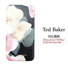 Ted Baker テッドベイカー ミラー付 手帳型 iPhone 5/5s SE 6/6s 7 8 Plus X/XS XR XSMax Case アイフォン ケース 携帯 スマホ ケース ブラック 二つ折 花柄 ポーセリンローズ[スマホケース]