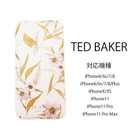 テッドベイカー Ted Baker ミラー付 カードスロット付 手帳型 iPhone 6 6s 7 8 X/XS 11 Pro Max Case アイフォン ケース 二つ折 花柄 SUZAN プリント ピンク [スマホケース]