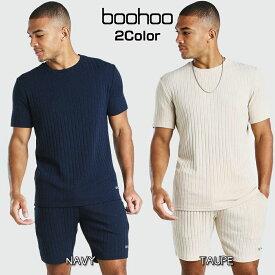 ブーフー boohoo MAN 上下セット ニット Tシャツ ハーフパンツ セットアップ スウェット Stripe Knitted T-Shirt And Short Set With Tab 半袖 ショーツ パンツ トラックスーツ おしゃれ メンズ ブランド イギリス asos[衣類]