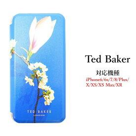 テッドベイカー Ted Baker ミラー付 手帳型 iPhone 5/5s SE 6/6s 7 8 Plus X/XS XR XSMax Case アイフォン ケース 二つ折 花柄 HARMONY MINERAL ハーモニーミネラル[スマホケース]