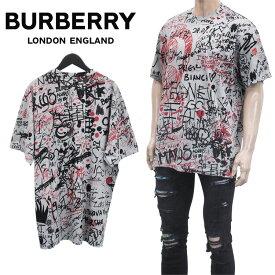 バーバリー BURBERRY Tシャツ グラフィティプリント 総柄 ペイント 8031314-A6029_PALE_GREY_MEL_PTN