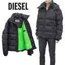 ディーゼル DIESEL ダウンジャケット ネオングリーン ライナー 同色 バックプリント A00555-0HAVA W-RUSSELL-9XX