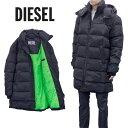 ディーゼル DIESEL ダウンコート ネオングリーン ライナー ラッセルロング 同色 バックプリント A01247-0HAVA W-RUSSELL-LONG-9XX
