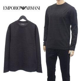【エントリーでポイント9倍】エンポリオアルマーニ EMPORIO ARMANI ジャカードロゴ ロンT 長袖 Tシャツ 6H1T6B-1JGYZ-0022 ブラック×ブラック【SpringSale】
