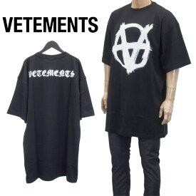 ヴェトモン VETEMENTS アナーキー ゴシック ロゴ オーバーサイズ Tシャツ 半袖 UE51TR640B-1600-BLACK/WHITE