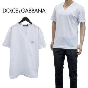 ドルチェ&ガッバーナ DOLCE&GABBANA ロゴプレート Vネック Tシャツ 半袖 ティーシャツ カットソー G8KK0T-FU7EQ-W0800【SpringSale】