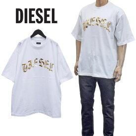 ディーゼル DIESEL メタリックロゴ Tシャツ オーバーサイズ 半袖 ティーシャツ カットソー A01866-0PATI T-BALL-A1-100
