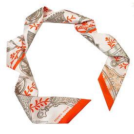 ≪新品≫ エルメス ツイリー 「 ETRIERS REMIX / 鐙・リミックス 」 Verveine / Orange / Kaki ヴァーベナ / オレンジ / カーキ ミニ スカーフ ミニ スカーフ 箱 リボン ラッピング