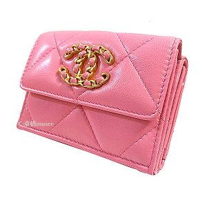 ≪新品≫シャネル CHANEL 19 ナインティーン スモール フラップ ウォレット 財布 ピンク ROSE PINK ゴールド金具 AP1789 B04852 NB358 箱 リボン ラッピング