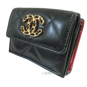 ≪新品≫シャネル CHANEL 19 ナインティーン スモール フラップ ウォレット 財布 ブラック 黒 ゴールド金具 AP1789 B04852 94305 箱 リボン ラッピング