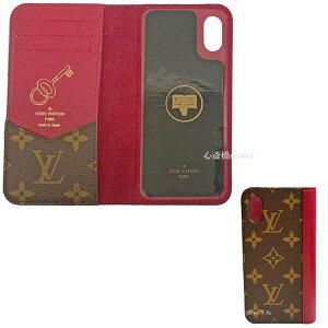 ≪新品≫ルイヴィトン モノグラム フォリオ iphoneX Xs 10 10s 鍵 ゴールドスタンプ付 フューシャ 二つ折り 携帯ケース モバイル M68685 LOUISVUITTON ビトン スマホ アイフォーン ケース カバー 手帳型