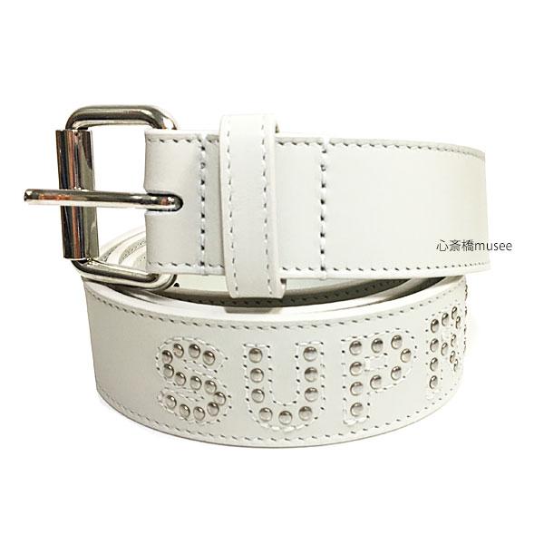 ≪新品≫ SUPREME 18SS Studded LOGO Belt S/M White シュプリーム スタッズ ロゴ ベルト レザー 白