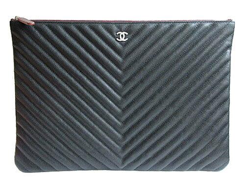 ≪新品≫ CHANEL シャネル キャビアスキン ポーチ クラッチ バッグ LARGE ブラック 黒×シルバー金具 A82552