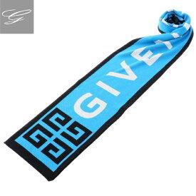 【2019AW SALE】ジバンシー/GIVENCHY マフラー メンズ コットン マフラー BLACK/BLUE BP00024-Y14-461【ロゴアイテム】