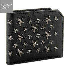 ジミーチュウ 二つ折り財布 JIMMY CHOO 財布 メンズ カーフスキン ブラック ALBANY-BLS-0050