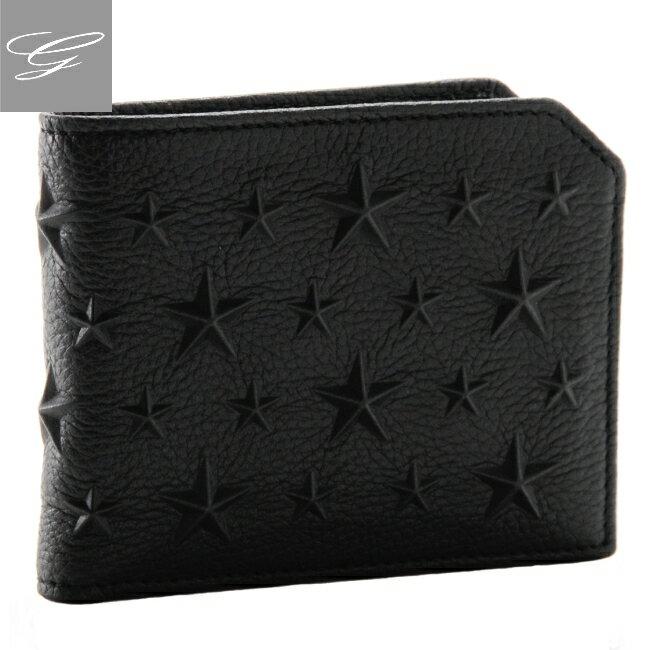 ジミーチュウ/JIMMY CHOO 財布 メンズ カーフスキン 2つ折り財布 ブラック ALBANY-EMG-0001