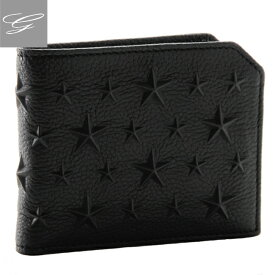 ジミーチュウ 二つ折り財布 JIMMY CHOO 財布 ブラック ALBANY-EMG-0001
