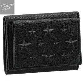 ジミーチュウ/JIMMY CHOO 財布 メンズ 型押しカーフスキン 三つ折り財布 BLACK 2021年春夏新作 BEALE-EMG-0001