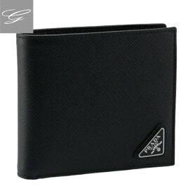 プラダ 二つ折り財布 PRADA 財布 メンズ 型押しカーフスキン NERO 2021年秋冬 2MO738-QHH-002