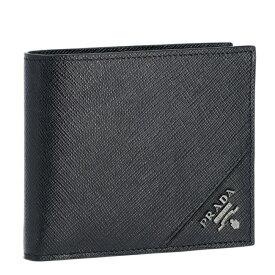 プラダ 二つ折り財布 PRADA 財布 メンズ サフィアーノメタル ブラック 2MO738-QME-002