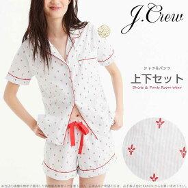 【10月限定2%オフクーポン】ジェイクルー ストライプに赤の模様がかわいい 半袖シャツ ショートパンツ ルームウェア パジャマ 上下セット Pajama set in fleur de lis □