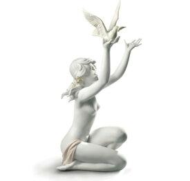 【10月限定2%オフクーポン】リヤドロ 平和を求めて ホワイト 女性 鳩 鳥 01008799 LLADRO PEACE OFFERING □