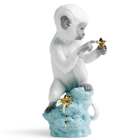 リヤドロ 興味津々‐ターコイズ 白猿 01007238 日本未発売 LLADRO Curiosity - Monkey on Darl Turquoise Rock 【あす楽】 □
