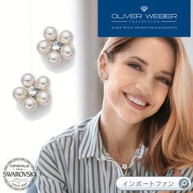 スワロフスキー ピアス Flower Pearl パール クリスタル Swarovski × OLIVER WEBER オリバーウェバー □