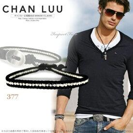 チャンルー メンズ シルバーナゲット × ブラックレザー シングルラップ ブレスレット チャン・ルーCHAN LUU 正規 □