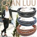 チャンルー メンズ ナゲット チェーン レザー ミックス 3連 ブレスレット チャン・ルーCHAN LUU 正規品 誕生日 父の日…