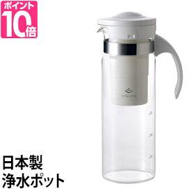 浄水ポット vikura(ビクラ) 浄水ポット VF-P1 750ml カートリッジ式 日本製 小型浄水器 コンパクト ガラス製 ゼンケン
