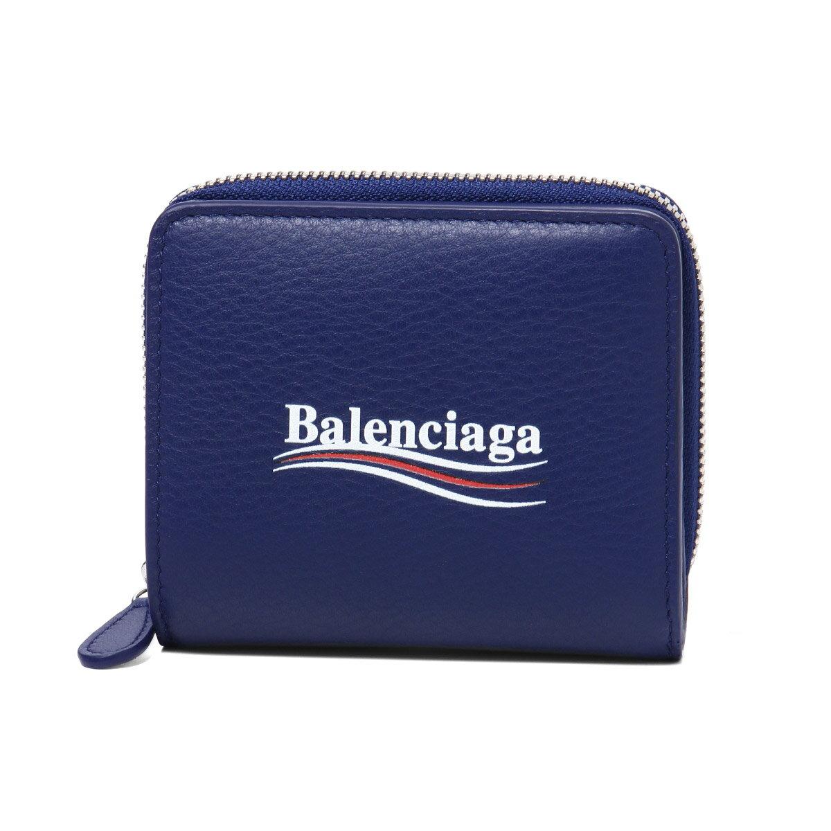 バレンシアガ BALENCIAGA 財布 レディース 516366 DLQ9N 4610 二つ折り財布 EVERYDAY エブリデイ BLEU PACIFIQUE ブルー